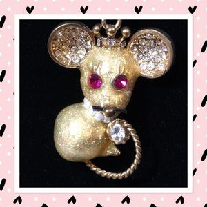 Betsey Johnson Tzarina  Mouse and Bling Necklace